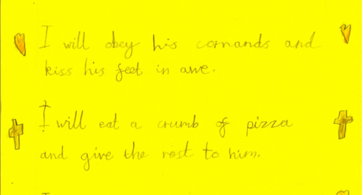 James, aged 7, expressed his own ideas about worship in his song. The Wonderful God When God comes down to earth I'll kneel in humbleness. I will obey his commands and kiss his feet in awe. I will eat a crumb of pizza and give the rest to him. I will say hello to Jesus and treat him like a God for he destroyed my sin.