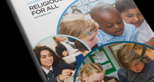 Cover of the folder for the Commission on Religious Education. Interim Report, Religious Education For All