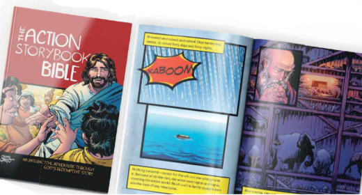 Photo of the cover of the Action Stroy Bible and some pages from the book.