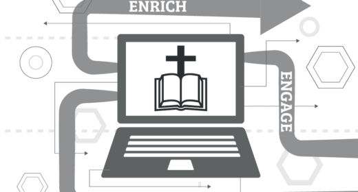 Showing a bible and cross with the words Enrich, engage and reflect