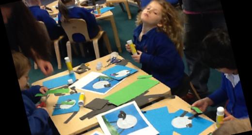 Pupils sitting at the desk making sheep