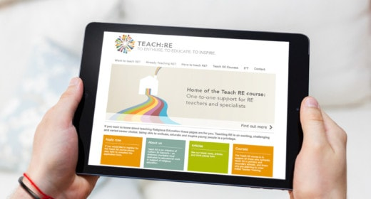 IPAD showing the TEACH:RE home screen