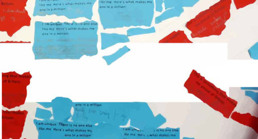 Blue and red paper showing the childrens work