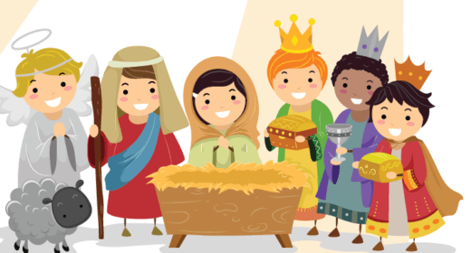 Nativity scene, the wise men, Joseph and mary, an Angel and a sheep gathered around the manager.