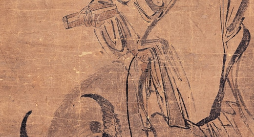 An old man riding an animal carrying a scroll