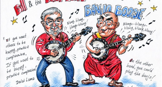 Bill Gent playing imaginary banjo with the Dalai Lama